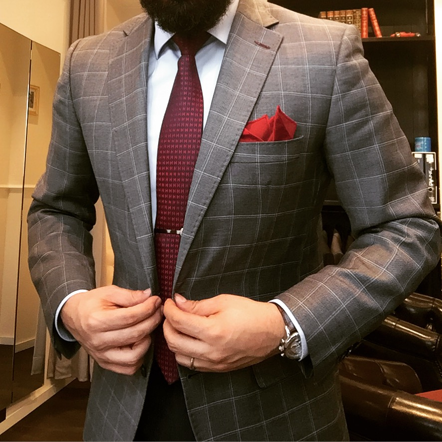 Suter And Co Made-to-measure suit Checked Grey Red Tie